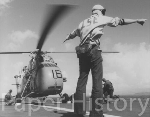 US Navy UH-34 Sea Horse Helicopter Military 8x10 Photo Taking Off USS Austin