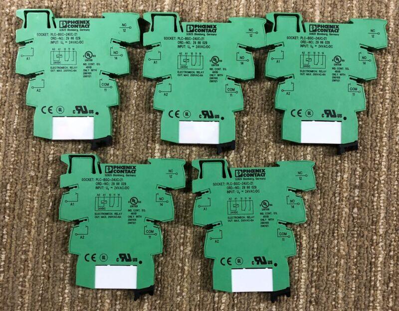 Lot OF 5 PHOENIX CONTACT SOCKET PLC-BSC-24UC/21 24V & Relay 2961105