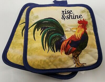 Rooster Pot - 2 PRINTED Kitchen Pot Holders, ROOSTER, RISE & SHINE, 7