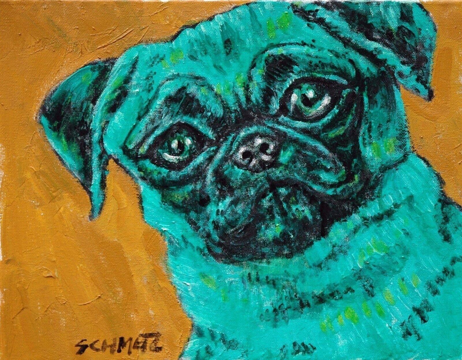 BLue French Bulldog Signed dog art PRINT 11x14 animals impressionism