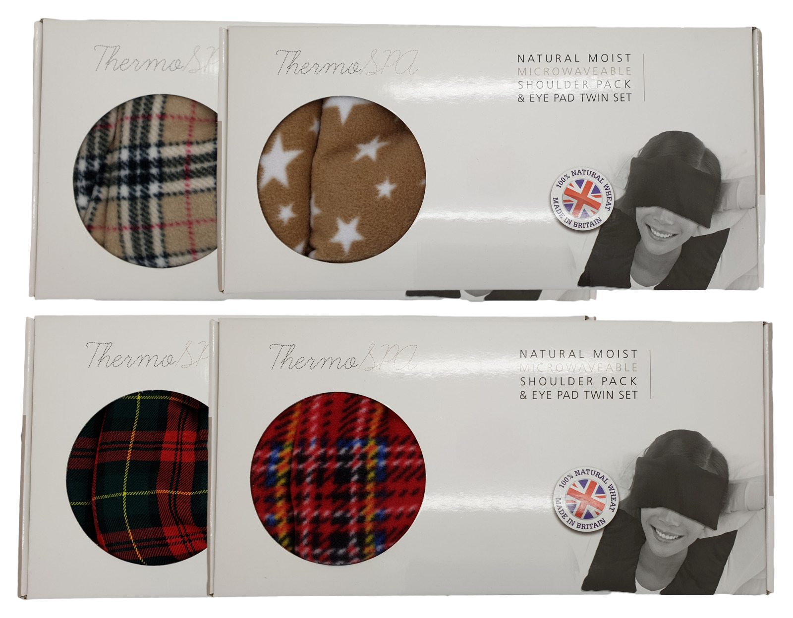 Thermo Spa Natural Moist Microwaveable Wheat Shoulder Pack & Eye Pad Heat Set