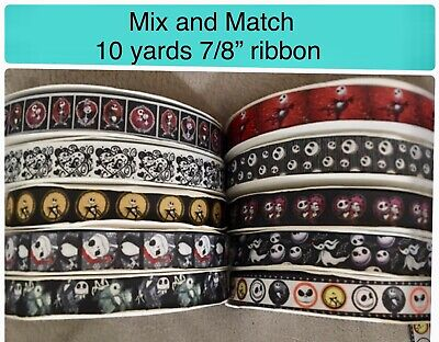 "Mix & match 10 Yards Nightmare Before Christmas 7/8"" Ribbon Choose Any -"