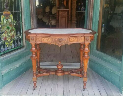 VICTORIAN RENAISSANCE REVIVAL WALNUT MARBLE TOP TABLE