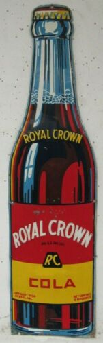 Original 1936 Dated RC Royal Crown Cola Embossed Metal 5 Ft Bottle Sign