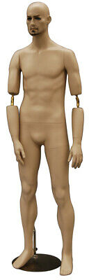 Male Realistic Fleshtone Full Body Mannequin With Flexible Elbows And Wig