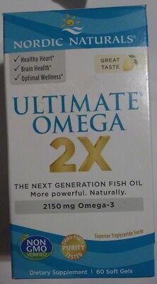 Nordic Naturals, Ultimate Omega 2X, Lemon Flavor, 60 Softgels ~ Expire: 2022