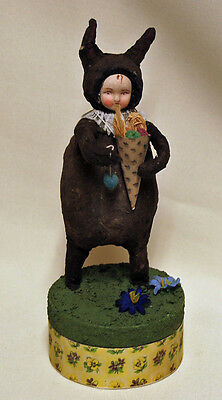 Vintage Rabbit Candy Container Paper Mache Figurine Easter Bunny Figural Holiday