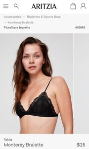 33a7cf5b1 BRAND NEW WITH TAGS ARITZIA BLACK LACE MONTEREY BRALETTE