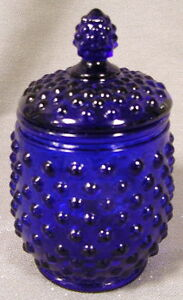 Cobalt Blue Glass Hobnail Pattern Covered Honey Jar