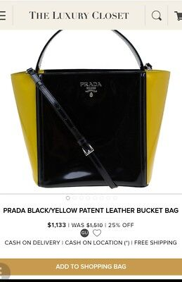 PRADA 100% Authentic yellow and black patent leather bucket  bag