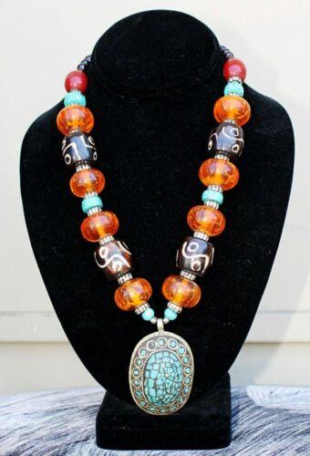 Huge Tibetan Beeswax Amber Dzi Beaded Turquoise Inlaid Amulet Pendant Necklace