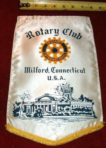 VINTAGE Rotary International Club wall banner flag     MILFORD    CONNECTICUT