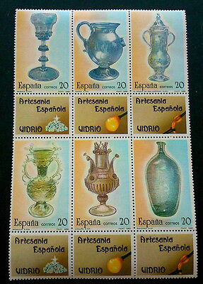 Spain Stamps - 1988 Glassware Sheet Of 12 Stamps MNH