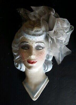 Vintage Clay Art USA Porcelain Woman Wall Art Hanging