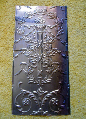 Antique Iridescent Victorian Ceiling Tin Torches Ancanthus Wreath Chic Fleur De