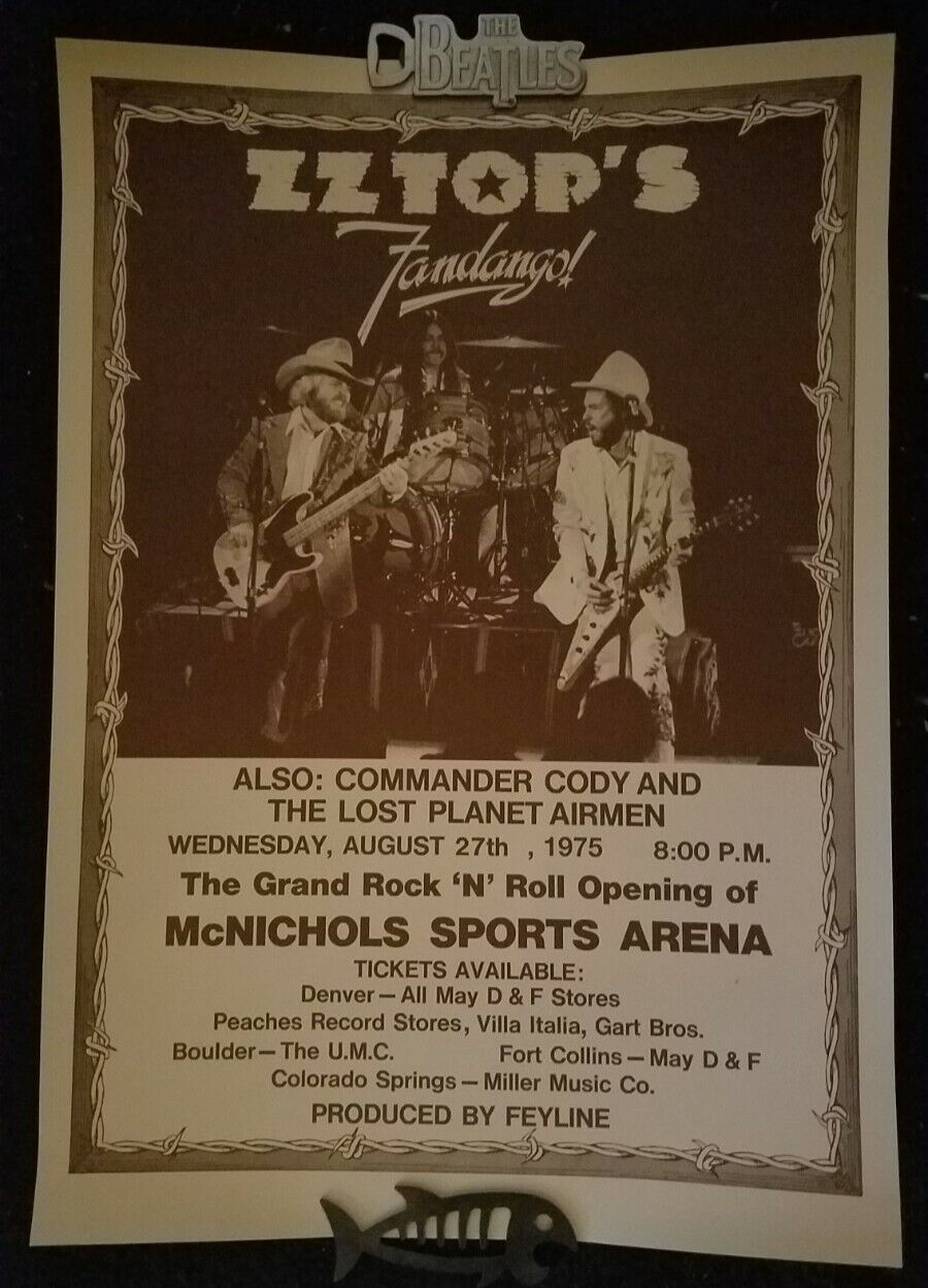 ZZ Top Concert Poster McNichols Sports Arena Denver 1975 Commander Cody  - $24.25