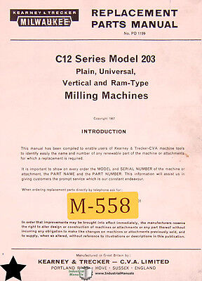 Kearney Trecker Milwaukee C12 Series Model 203 Milling Machine Parts Manual