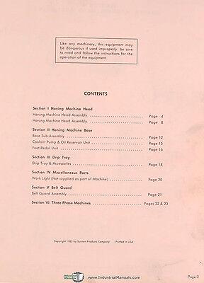 Sunnen Mbb 1660 Honing Machine Repair Parts Manual