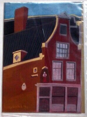 Original soft pastel painting, Dutch buildings, undamaged in good condition