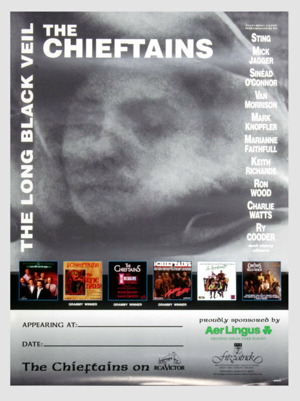 The Chieftains Poster The Long Black Veil 1995 New Album Promo