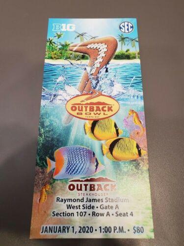 Outback Bowl MINT Season Ticket 1/1/20 Minnesota Auburn 2020 NCAA Stub