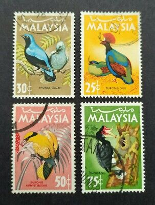 1965 Malaysia Birds Definitive 25c - 75c Stamps 4v Used (Post Mark varies)