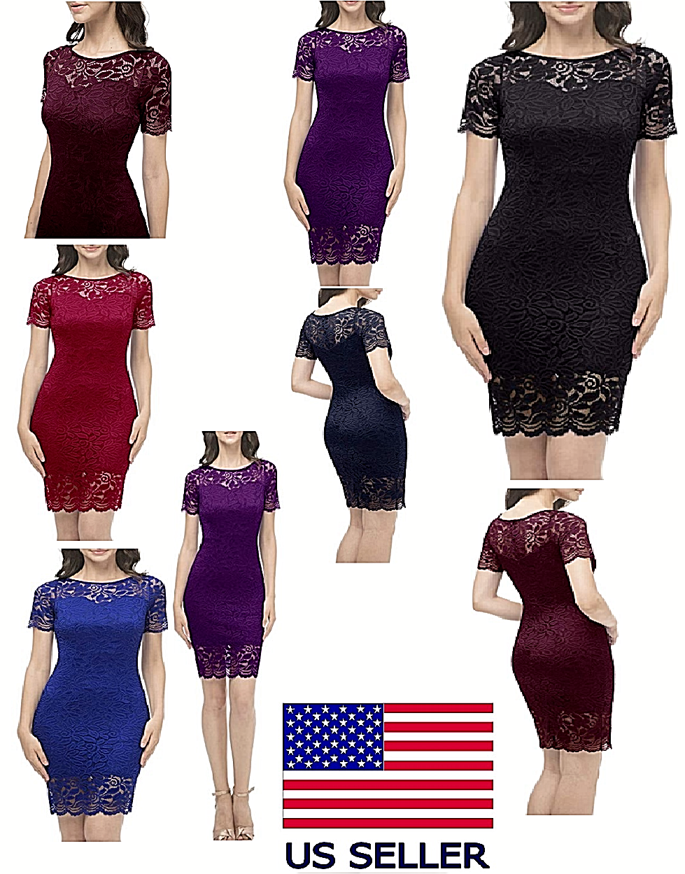 Women Vintage Floral Lace Bridesmaid Dress 1/4 Sleeve Wedding Party Fashion NICE Clothing, Shoes & Accessories