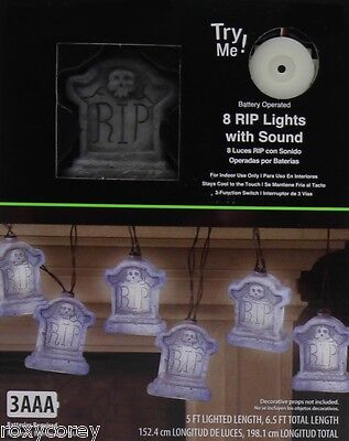 Battery Halloween Lights (Halloween 8 Battery Operated White RIP Lights with Sound Indoor Use)