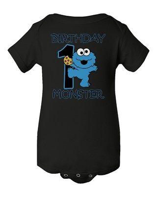 Sesame Street Cookie Monster Birthday Baby Short Sleeve Bodysuit - Cookie Sleeves