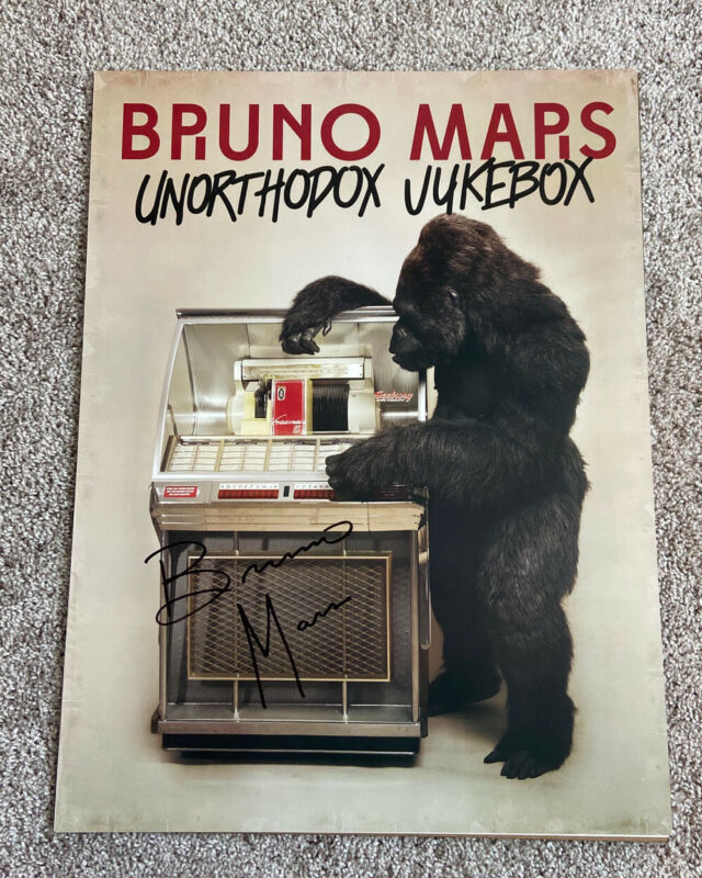 Bruno Mars Signed Autograph 18x24 Unorthodox Jukebox Poster. Massive Signature!