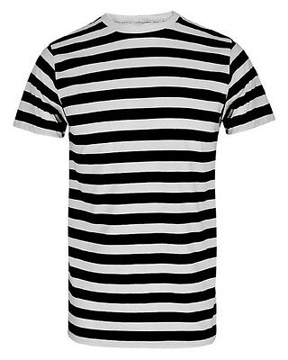 UNISEX FANCY DRESS PIRATE T SHIRT BLACK WHITE STRIPED CONVICT MEME TOP STAG HEN](Chucky Shirt Stripes)