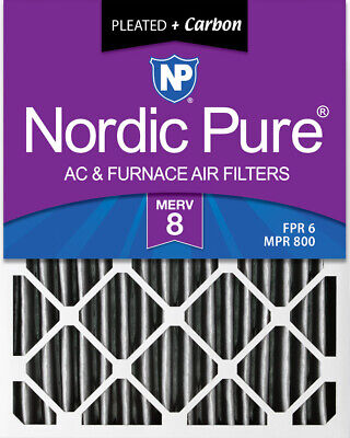 Nordic Pure 20x25x4  Pleated Plus Carbon Air Filters MERV 8