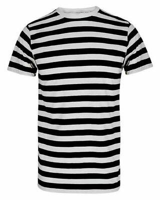 Striped Chucky Shirt (UNISEX FANCY DRESS PIRATE T SHIRT BLACK WHITE STRIPED CONVICT MEME TOP STAG)