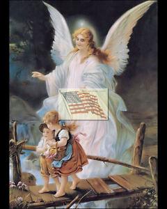 REPRINT PICTURE of older print GUARDIAN ANGEL A children crossing a bridge 8X10