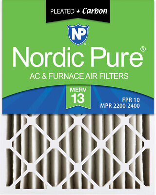 Nordic Pure 20x25x4  Pleated Air Filters MERV 13 Plus Carbon