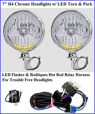 10 LED Turn Signal Running Light Headlights Chrome w/ Hot Rod Relay Harness 12V