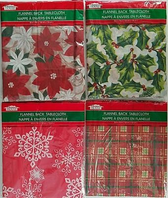Christmas Holiday Tablecloths Flannel Back Plastic Front, Select: Theme & Size