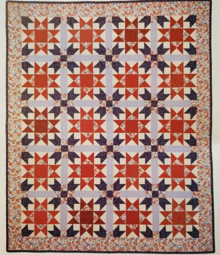 PATRIOTIC DOUBLE STARS FIRECRACKERS Quilt - Pattern From A Vintage Magazine - $2.99