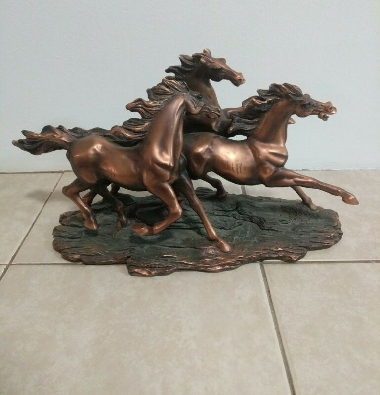 Group of Horses American West Copper Figurine Statue