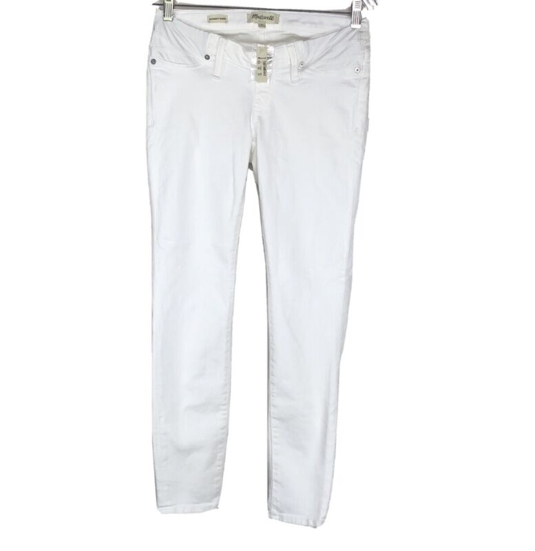Madewell Womens Maternity Underbelly Straight Leg Skinny Jeans White Sz 27 Nwt