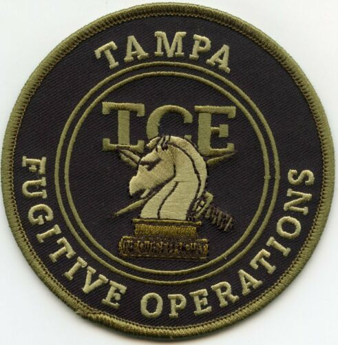 TAMPA FLORIDA FL ICE FUGITIVE OPERATIONS subdued green POLICE PATCH