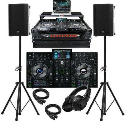 Complete DJ Package Denon Prime 2 2-Channel Controller Speakers, Black Case