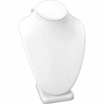 White Faux Leather Necklace Pendant Jewelry Display Bust 6 14
