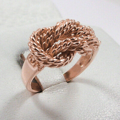NEW Solid 10K Rose Gold Love Knot Rope Ring Band 11mm, Sizes 5 - 12