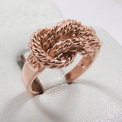 NEW Solid 14K Rose Gold Love Knot Rope Ring Band 11mm, Sizes 5 - 12