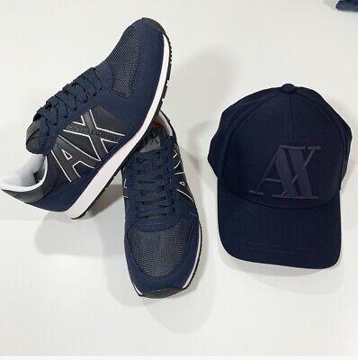 88738375ea5 ARMANI EXCHANGE A X LOGO Mens Retro Low Sneakers size 7 + ARMANI HAT Navy
