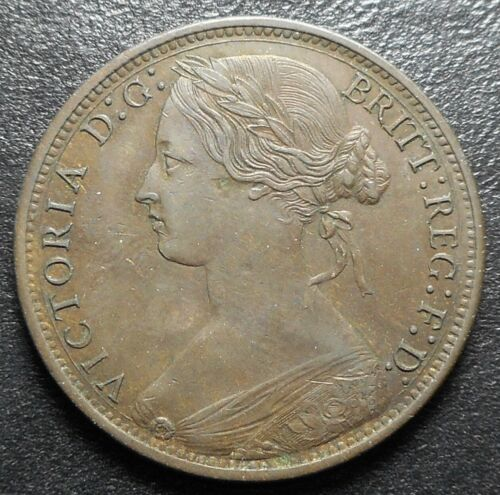 1874 Great Britain Large Penny AU+