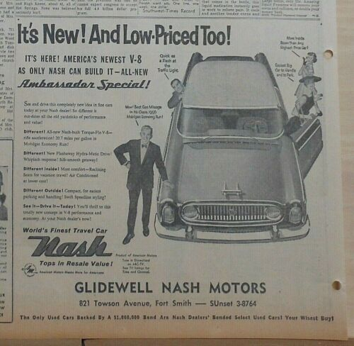 1956 newspaper ad for Nash - Ambassador Special, Finest Travel Car,  features