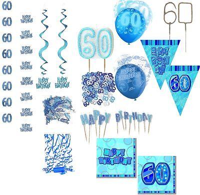 Dekoration 60. Geburtstag blau Partydekoration Girlanden Konfetti Tischdeko 60