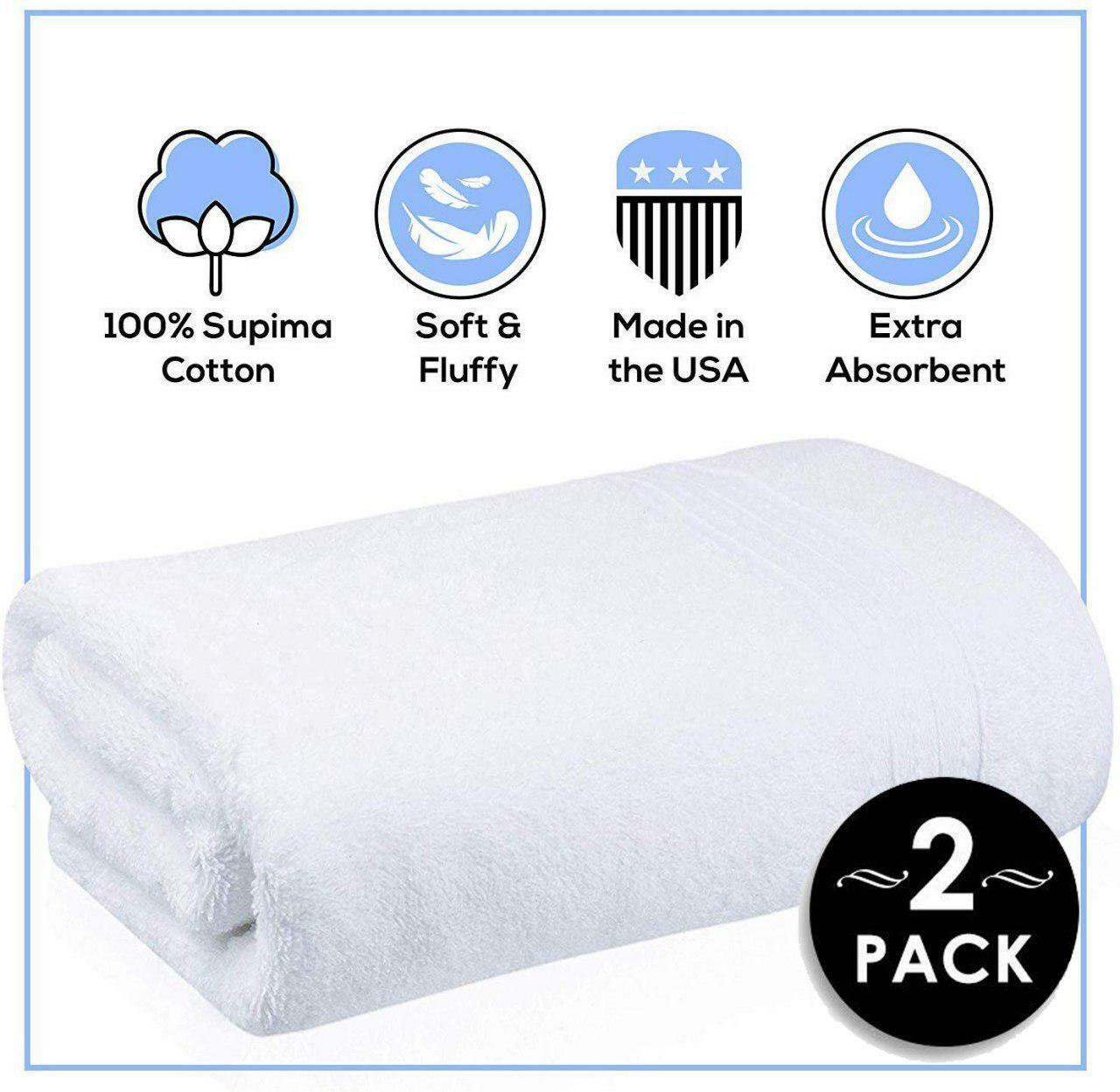 Pure SUPIMA Bath Towels 2 Pack - Made In USA - Luxury Hotel